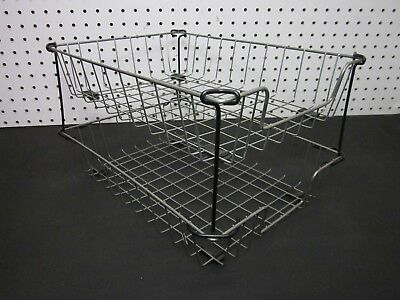 LOT of 2 Vintage Industrial Metal Wire In-Out Letter Size Desk Tray Baskets SNN