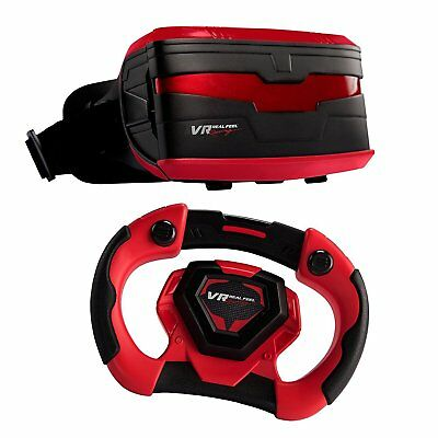 Virtual Reality Car Racing Gaming System, VR Headset Goggles w Steering Wheel