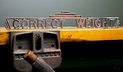"""Vintage """"Correct Weight"""" Public Scale Heavy Cast Iron Coin Operated Topper Sign"""