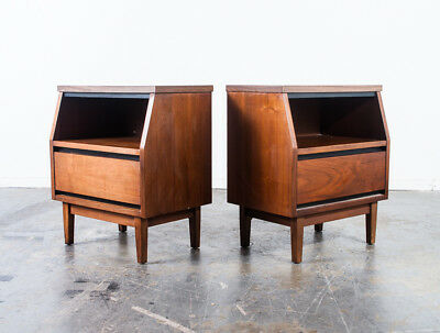 Mid Century Modern Nightstands End Side Tables Stanley Broyhill Vintage Pair Mcm