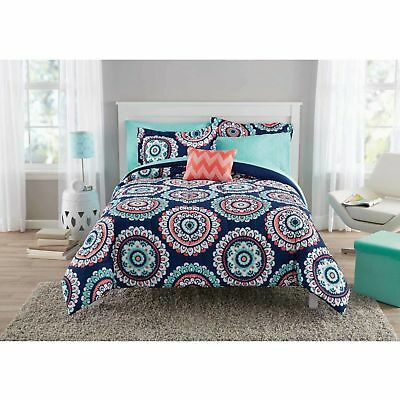 Mainstays Comforter Bedding Sheet Cover Navy Medallion Bed In A Bag Queen New