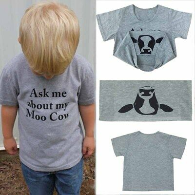 Ask Me About My Moo Cow Letter Toddler Kids Tee Tops Short Sleeves Inside EA