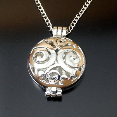 70cm White K Alloy Patterned Lockets Charm Necklace Essential Oil Diffuser 51067