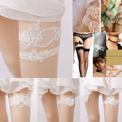 Women Ladies Lace Garter Bride Dress Ribbon Elastic Lace Butterfly Wedding