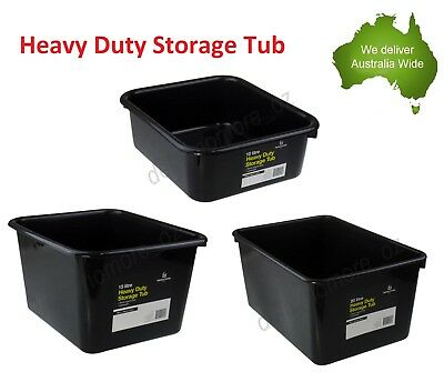 10L 15L 20L Heavy Duty Storage Tubs Black Plastic Containers Crate Bin Box Litre