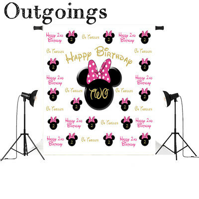 Newborn Photography Background Cartoon Minnie Mouse Scenic Photo Backddrop 5x7ft