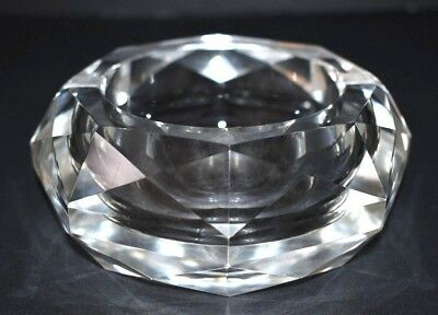 """Vintage Heavy Round 5"""" Clear Lead Cut Crystal Glass Ashtray w/ Faceted Sides"""