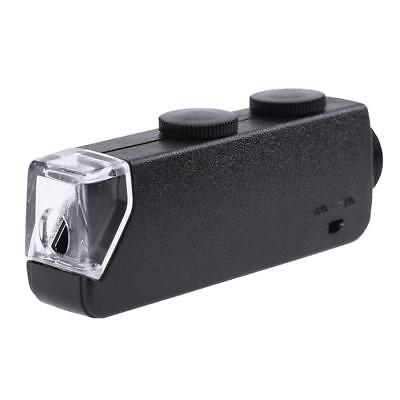 60X-100X Zoom Microscope LED Magnifier Clip-on Micro Lens for iPhone Samsung+Bag