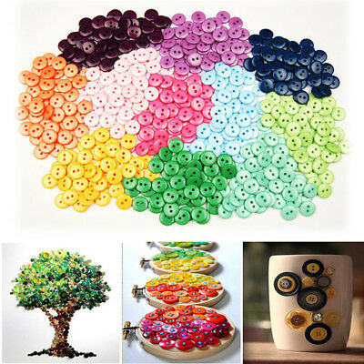 100pcs/bag Nice DIY Buttons Mixed Colora 2 Holes Sewing Decals Plastic Buttons