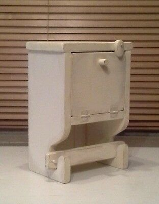 Primitive French Country Wood Buttermilk Distressed Toilet Paper Holder Cubby