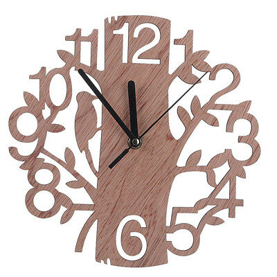 Creative 3D Wooden Wood Tree Wall Clock Watches Chinese Style Home Decorations
