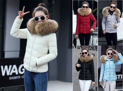Women Edition Slim Fit Warm Down Cotton Parka Hooded Jacket Coat Outwear