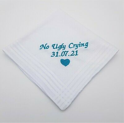 29cm NO UGLY CRYING PERSONALISED HANDKERCHIEF ONLY HAPPY TEARS GIFT WEDDING