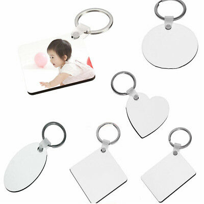 1x Blank MDF Board Sublimation Printing Keyrings For Heat Press Machine 5 Styles