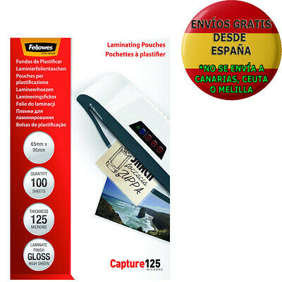 Pack De 100 Fundas Para Plastificar Fellowes 53067 Formato 65 X 95 Mm 125 Micras
