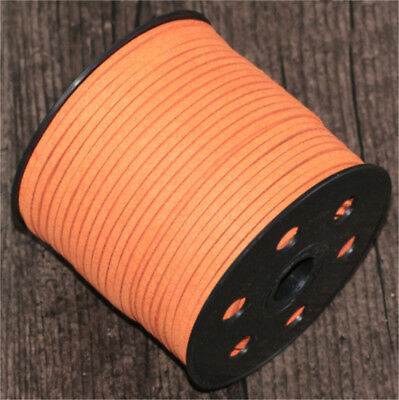 DIY 10/100yd light orange 3mm Suede Leather String Jewelry Making Thread Cords