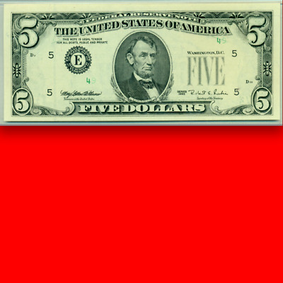 """$5 PMG 65 EPQ Only """"49"""" of Serial Number Shows! SCARCE ERROR Five Dollars"""