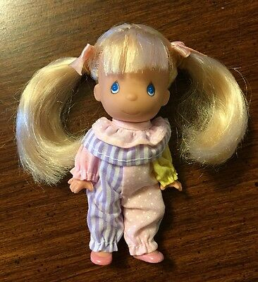 """1996 4"""" """"Precious Moments"""" Blonde w/Pigtails Collectible Doll  GUC"""