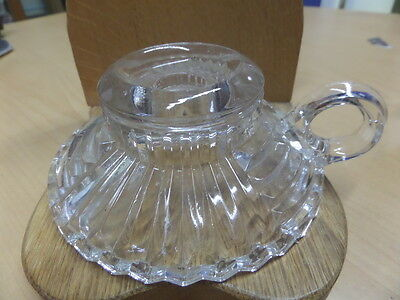 """VINTAGE CLEAR PRESSED GLASS CANDLE HOLDER WITH HANDLE 5"""" diam"""