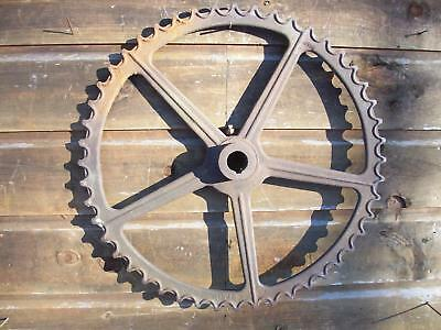 "Indiana Farm Find-Large 32"" Dia. - 5 Spoke Cast Iron Ihc Gear-Steampunk Decor"