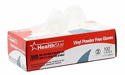 Healthstar Anti-microbial Vinyl Gloves Large Disposable Powder-Free Food-Safe...