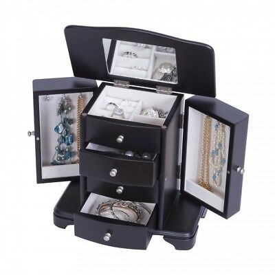 Small Wooden Jewelry Box Black Drawers Standing Chest Organizer Mirror Stand New