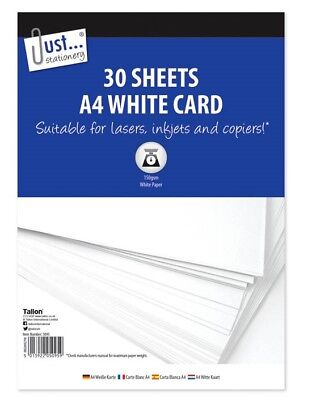 A4 Plain White Card 30 Sheets 150gsm Suitable For Laser Inkjets & Copiers Craft