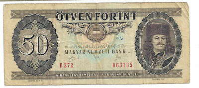 Hungary, 50 Florint banknote 1989. Nice engraving. Fair condition (J8-21)