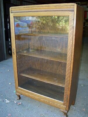 Antique Oak Bookcase single door wavy glass