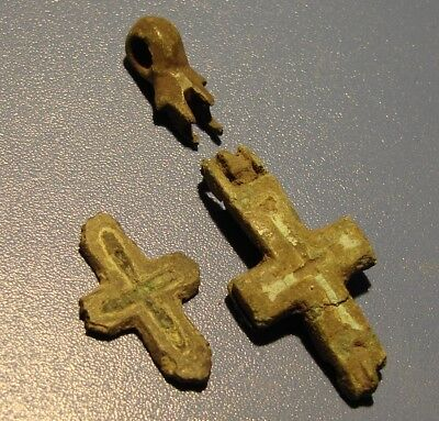 FRAGMENT OF THE ANCIENT CROSS. ELKONPIONA. BRONZE. RARE.Original.
