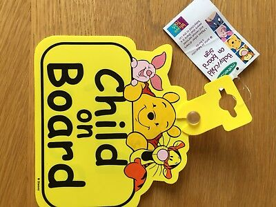Mothercare Winnie The Pooh Baby/Child On Board Sign BNWL