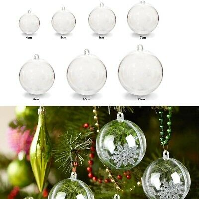 20x Clear Plastic Craft Ball Sphere Christmas Decoration baubles Wedding Favours