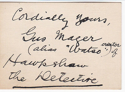 CARTOONIST GUS MAGER - INSCRIBED SIGNED CARD - Hacksaw the Detective - Sherlocko