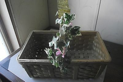 Large Woven Wooden Basket With Faux Ivy And Pink Flowers Handle Gold Color Ribbo