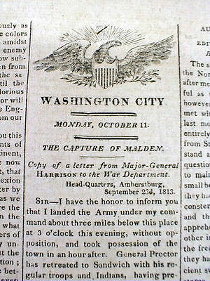 1813 War of 1812 newspaper FORT MALDEN in Ontario CANADA is CAPTURED by US ARMY