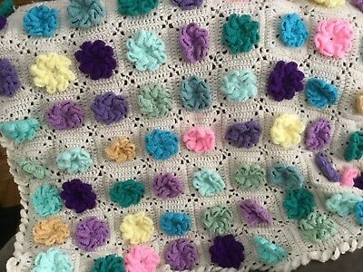 """Hand Crochet Afghan,acrylic cream colored with multi colored Flowers, 48"""" x 60"""""""