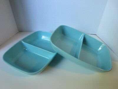 """Pair of Vintage Brookpark Turquoise 10"""" Divided Serving Bowls in Great Condition"""
