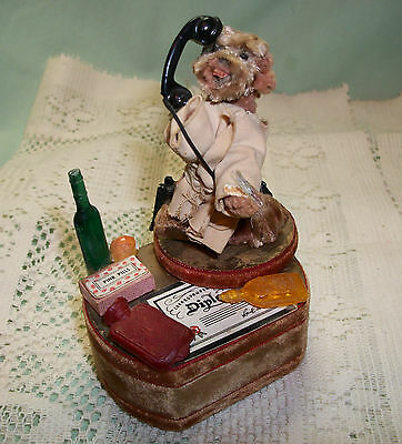 Vintage Thorens Chenille DOCTOR DOG on PHONE Vignette Jerry McMillan MUSIC BOX