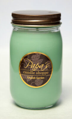 Papa's Candle Shoppe English Garden 16oz Mason Jar Highly Scented Soy Wax Candle