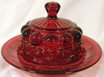 Butterdish - Eyewinker - Red Glass - Mosser USA