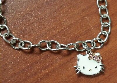 Sanrio Hello Kitty Enamel Crystal Charm Sterling Gold-Plated Accent Bracelet NEW