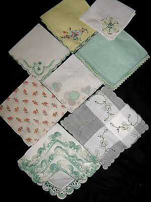 8 Vtg ALL W/Green* HANKIES*FLORAL/EMBROIDERY/LACE*EXC COND*NO HOLES/SPOTS*