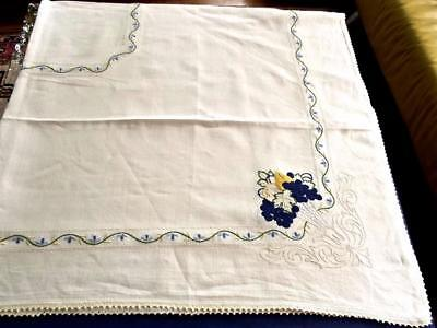 "Antique Pure Homespun Linen 68""Sq Tablecloth Arts & Crafts Hand Embroidery"