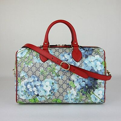 c257ca42fc25 Gucci Beige/Blue GG Coated Canvas Bloom Boston Top Handle Bag w/Box 409527