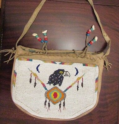 antique / old  Plateau Beaded Bag w. Golden Eagle and Crossed Lances....awesome