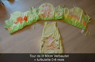 Tour de lit jungle VERBAUDET 60cm + Turbulette 0-6 mois