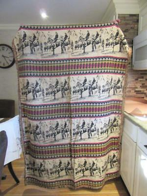 Large Antique Mongolian Horseback Riders Colorful Tapestry Coverlet Hanging