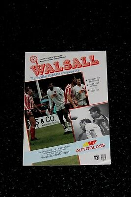 WALSALL v BRENTFORD PROGRAMME - F A CUP Round Three - Saturday 7th January 1989