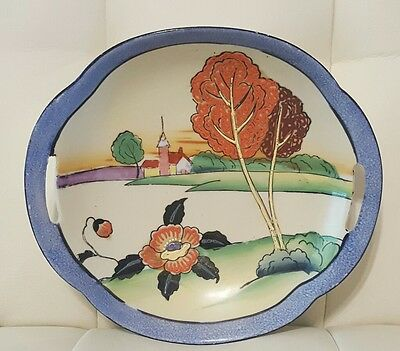 Vintage Antique Hand Painted Japan plate dish bowl trees church collectible