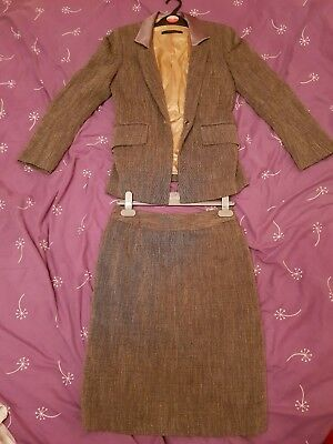 Wool Blend Tailored Skirt & Jacket Suit Size 8